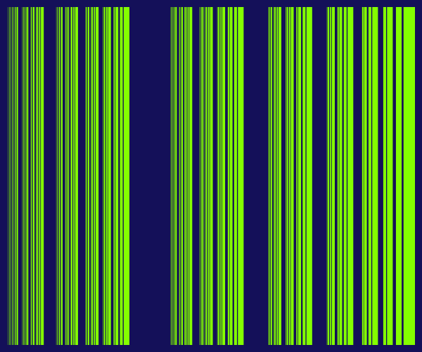 This example generates just the final generation of the fractal. This is done by enabling the interesting barcode option. It uses a bright green for vertical lines and a dark blue background color.