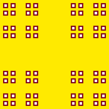 This example draws white dust squares with a wide, brown 4px border on a yellow background. It repeats the recursive dust subdivision process for 4 iterations and you get 64 squares.