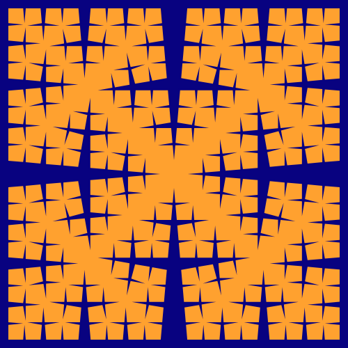 This example generates the so-called torn square fractal, which is just a special case of Cesaro fractal. The incision angle is set to 85 degrees that makes a very sharp cut in the initial square at every iteration. Canvas size measures at 500 by 500 pixels and the thickness of the line is not set here, so the fractal is drawn using only two colors. Notice how another fractal appears inside of the square as the number of iterations increases.