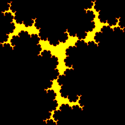 In this example we use a short rule from four segments and apply it to a triangle. We use a black background color, a red outline, and a yellow fill. We get an unusual fractal shape, similar to burning coals. We also recurse this fractal for 6 iterations, change zigzag's width to 1 pixel and remove padding by setting it to zero pixels.