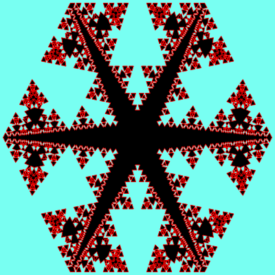 This example uses only positive and negative angles equal to 110 degrees in its substitution rule. Only after five iterations this Cesaro pentaflake acquires an unusual star-like shape with small patterns around its edges.