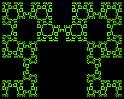 This example generates a Fibonacci word curve using 20 iterations. The starting direction is set to east (left) and it uses green and black colors for the fractal drawing. This fractal shows mirror symmetry along the middle.