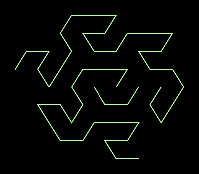This example shows a Gosper curve using 2 iterations only. Color is set green on black, line width is set to 2px, padding to 30px and space size to 400x350px.
