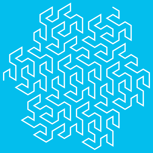This example evolves Gosper's curve for 3 generations. It also sets a blue background, white curve line color, and sets line's thickness to 4px. The dimensions are set to square - 500x500px.