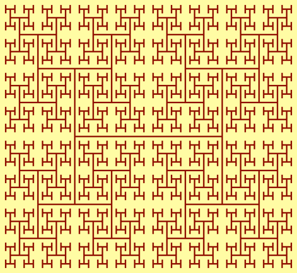 This example shows a fractal at 5 iterations, so there are five different sizes for the letter H. At each step, the letters decrease in size by square root of 2 and the lines that create letters H never. If we continued at higher order, we'd fill entire 600x550 rectangle.