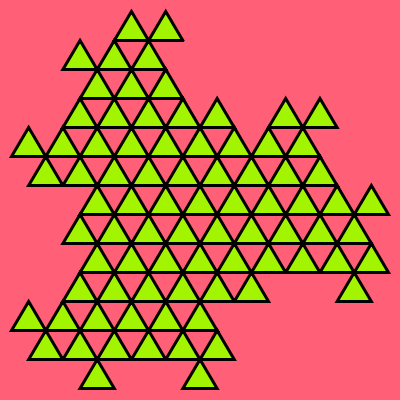 In this example we use all three possible colors for drawing the triangles. The colors here are written in various formats – hex code for the background, named color for the line, and RGB code for the filling. We generate five iterations of the fractal, set the triangles' side width to three pixels and turn all triangles up.