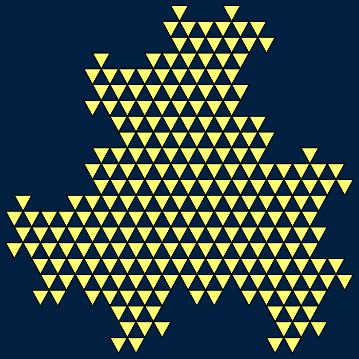 This example draws yellow-filled triangles on a bluish dark background. We left the triangle side thickness option unused so the triangles sides aren't drawn in any color and only two colors are used that fill an area of 700 by 700 pixels.
