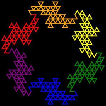 This example generates a circle of dragons using rainbow colors. Here we're using only 5 iterations to draw the final fractal and we enable connect-tails option. As we're using line thickness of 3px we can clearly see how the dragons are made of individual line segments. Also a small space around a curve (5 pixels) is drawn for padding and the dimensions of the image are 350 by 350 pixels.