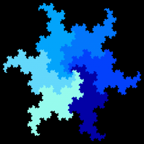 This example draws a hexdragon curve in six shades of blue, moving from light blue to dark blue color. All tetradragons start in one central point and we add 10 extra pixels around their tails so that they don't touch the frame of the fractal. We use 11 recursive iterations to generate the fractal and draw it on a 500x500 black background.