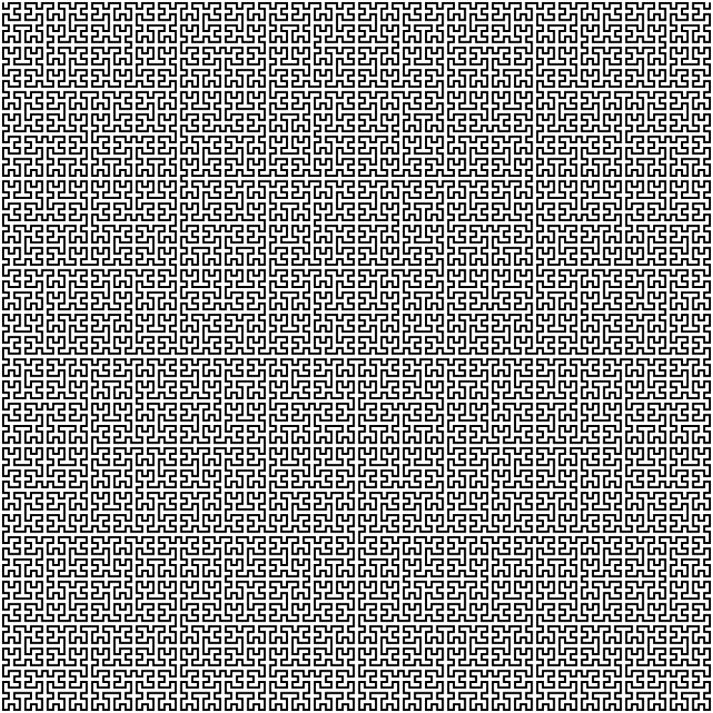 This example draws a bigger 7th order 1000x1000 Hilbert curve. It sets background color to white and curve's color to black.
