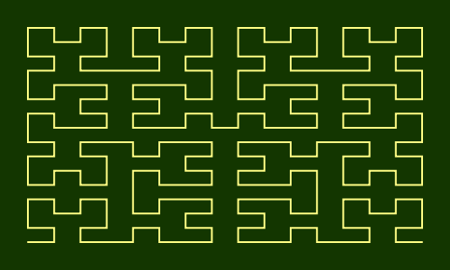 This example draws a Hilbert curve inside a 500x300 rectangle. As this rectangle isn't a square, the horizontal segment size is larger than vertical segment size.