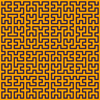 This example generates a 5th order Hilbert curve on an orange background and sets curve thickness to 5px. The space is set to 400x400px square.