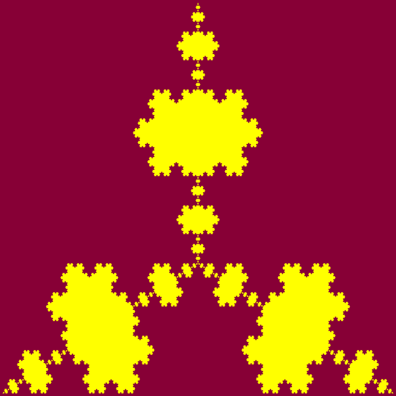 In this example, we set the contour line width to 0 that makes it use only two colors for the fractal. Here the snowflake is constructed using 7 iterative transformations and with padding at snowflake extremities of 5 pixels.