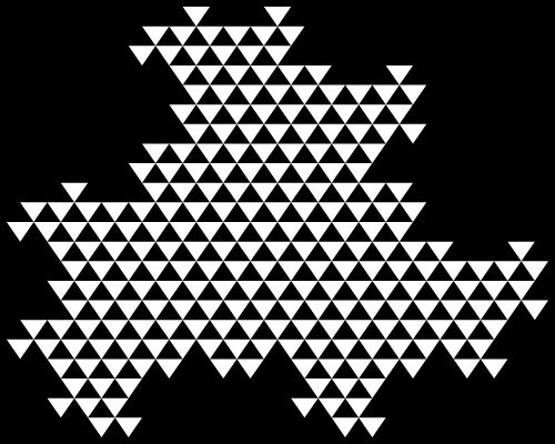 In this example we bend the zigzag line at 120 degrees. To our surprise, we get the Heighway triangle fractal. To show more possibilities of this tool, we've made zigzag's width equal to zero, set the background to black color and triangle fill color to white, changed fractal's size to a 500x400px rectangle with 5-pixel indentation along the edges of the frame.