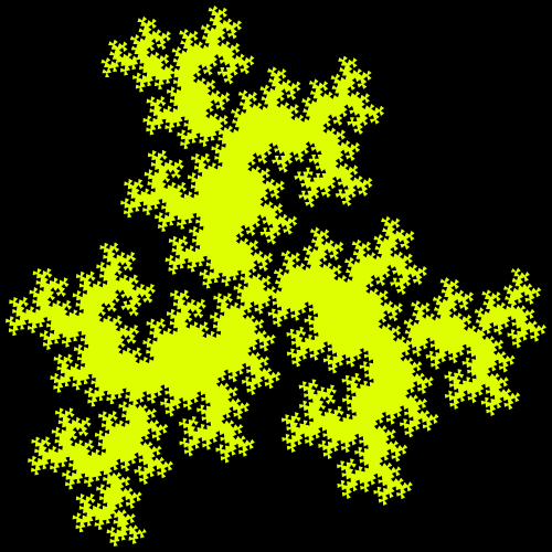 This example creates a Koch triangle fractal. As the title suggests, the base figure is a regular triangle and its sides are replaced with a zigzag made out of three equal-length parts that are cut at 108 degrees. We don't draw zigzag lines themselves and our fractal is drawn in yellow on a black background.