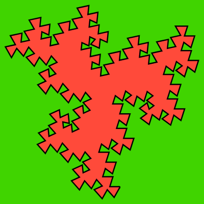 This example draws the Koch triangle using bright and contrasting fill and background colors. It uses a 2px black line for zigzags and draws 5th generations of triangles. The canvas is a square at 400x400 pixels with an inside padding of 10 pixels.