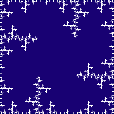 In this example a curve similar to freezing ice pattern is created by a single Lindenmayer system rule. We used cold colors to make it look like a real frost.