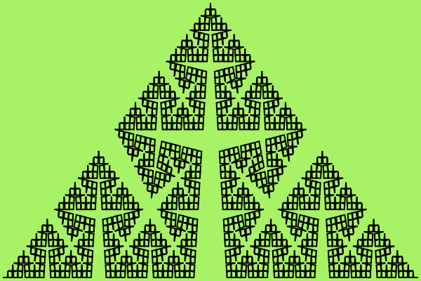 This example generates a variation of Koch star known as Cesero fractal with an angle of 80 degrees. It has a width of 600px and a height of 400px, it uses 6 iterations and the starting direction is set to left.