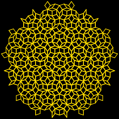 This example uses an L-system to generate a Penrose tiling. For this curve we use all 5 rules and use four characters for drawing. We also set the color of the background to black and yellow color for the line. Pretty!