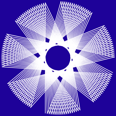 This example displays a non-standard L-system with an angle of 77 degrees. This curve consists of straight lines, which simultaneously form both a star and a circle.