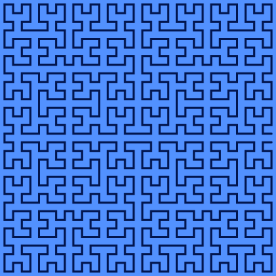 "This example generates 5th generation Moore's curve in the ""left"" direction. It changes the background to blue, curve color to blackish, and dimensions of curve space to a square with side 400 pixels."