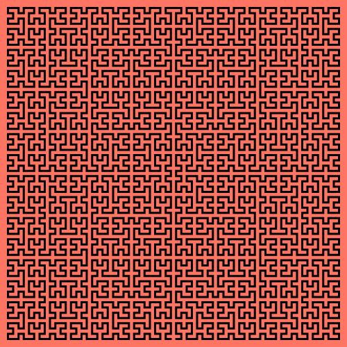 This example draws a colorful Moore curve on a 500x500 pixel square. It sets padding to 10 pixels and background color to redish-orange.