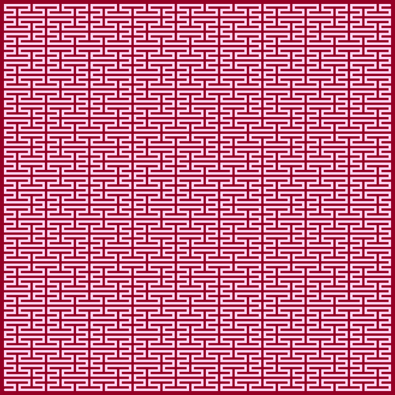 This example draws a large 4th generation Peano curve in an 800x800 space. It uses redish background color and whitish curve color.