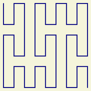 This example generates a second order Peano curve filling 300x300px space. This curve has a nice navy-on-white color scheme and has a vertical direction of starting movement.