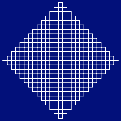 This example draws a Peano curve in the form of a rhombus, using depth 3 of iterations. The image size is 500x500px and distance of 10 pixels between rhombus vertices and image frame.