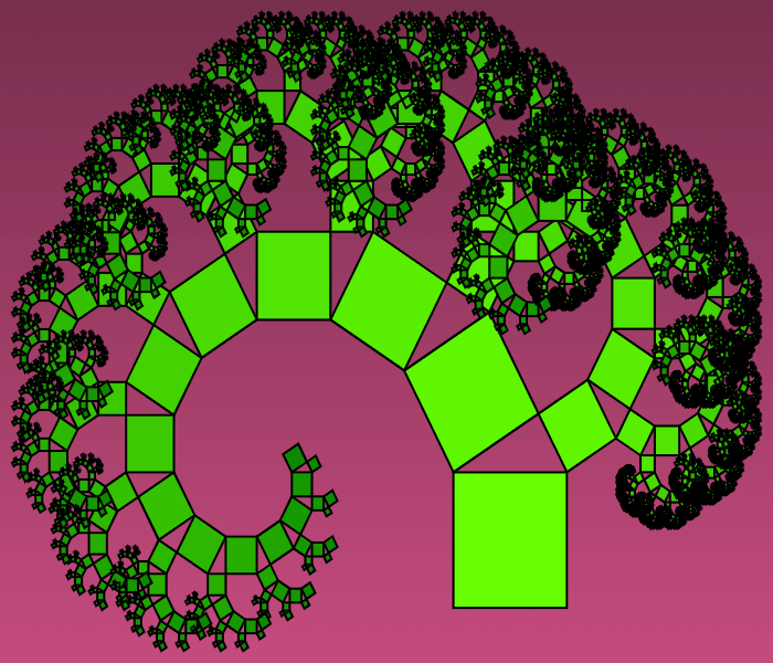 In this example the angle of rotation of the left square is 30 degrees and right is 60 degrees. As a result left and right squares have different sizes and the whole tree is tilted to the left side. We also stretched the image horizontally by setting its size to 700x600px and set a black outline for squares with thickness of 2px.