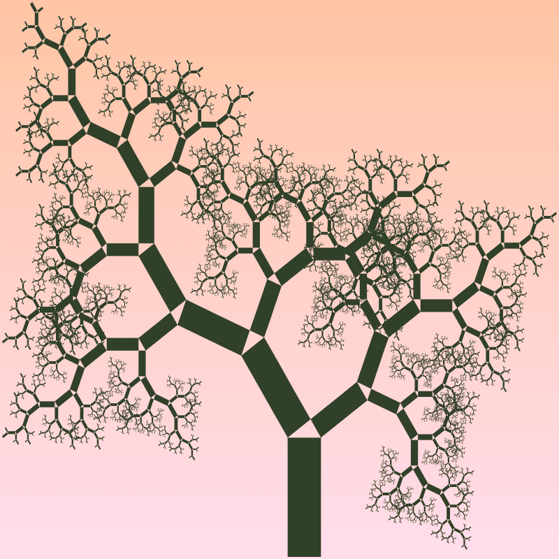 In this example, we generate a tree that looks very realistic, like you see in nature. This is achieved by selecting semi-coniferous tree type option (where alpha and beta angles swap every two levels), setting alpha angle to 34 degrees (beta is automatically set to 56 degrees), and using a non-square base rectangle. The height of each rectangle is 3 times greater than its width. This aspect ratio makes this Pythagoras tree look very realistic and all branches bend very smoothly. We also chose to use two colors here and used 15 iterative levels.