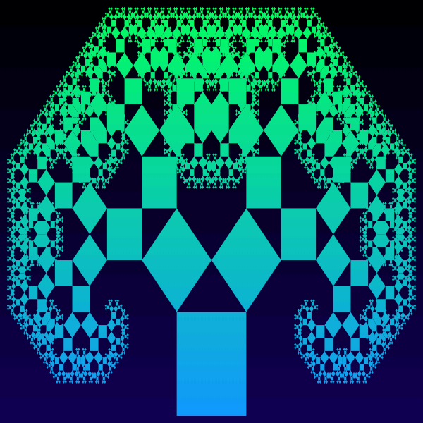 This example generates a symmetric Pythagoras tree using twelve generations. It uses a square as the base figure. The outlines of recursively drawn squares are not visible here because it's set to zero. The fractal uses only two colors – black for the background and blue for the tree. Notice that as the branches twist, overlap and intersect, this fractal starts to look very similar to Levy C curve.