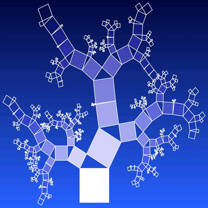This example uses a different tree randomization method. Here the rotation angles are randomly selected for each pair of squares. The branches each time tilt in different directions, creating a chaotic tree shape.