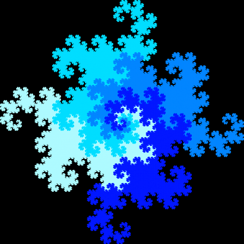In this example we use four different tones of blue color for each of the dragons. Combining it with black background color creates an amazing fractal. We're using 16 steps to generate the quaddragon curve. There are so many line segments and they are so close together that a line with width of 1px is enough to fill all dragons with a solid color.