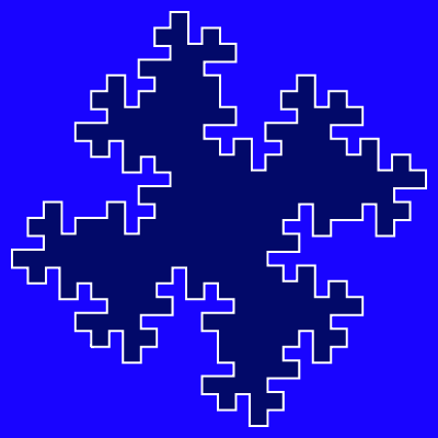 This example draws a quadric Koch flake using three iterations. Here two shades of blue are used for the background and fill, and white color for the contour. Canvas is 400x400px and line width is 4px.