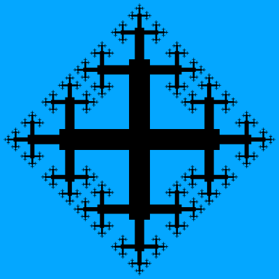 This example draws a fractal using 8 iterations. We set the line thickness to zero, so the cross is painted in two colors – blue for the background, and black for the cross.