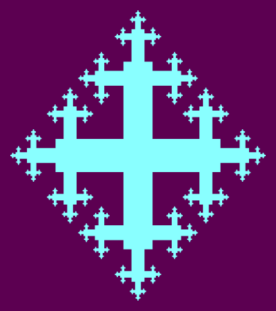 In this example, the quadric cross has vertical legs longer than horizontal because the size of the fractal is set to 400x450px. It uses 5 iterative steps, padding is set to 15 pixels and cross's border to 0px.