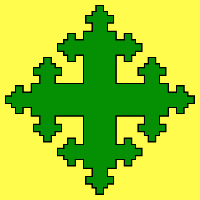 This example generates a green quadratic cross, with a black contour on a lemon-yellow background. There are 3 recursive quadratic expansions on a canvas of size 400 by 400 pixels.