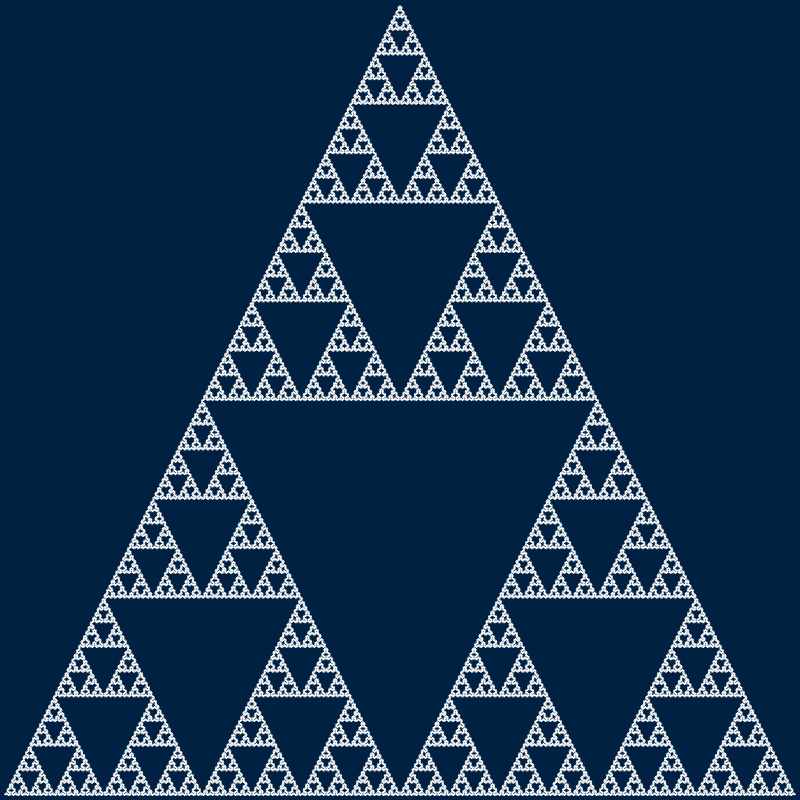 This example generates a full-blown Sierpinski triangle. As the order of the curve gets bigger, the curve becomes indistinguishable from a triangle. Here we set iterations to 9 to demonstrate it.