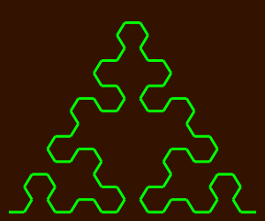 This example uses a non-proportional size for the arrowhead curve and draws it on a 300x250 background using 4 generations. It uses nice contrasting colors to give the curve a pretty look. It also sets padding to 10px.