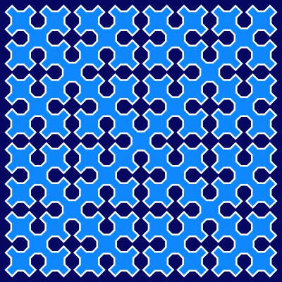 This example draws a 4th generation Sierpinsky curve in a 400x400px space. It uses dark blue background color, azure internal color, and white curve color.