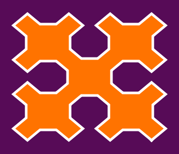 This example creates a Sierpinski curve with non-square proportions 350x300px. It's defined using 2 iterations only and uses contrasting colors.