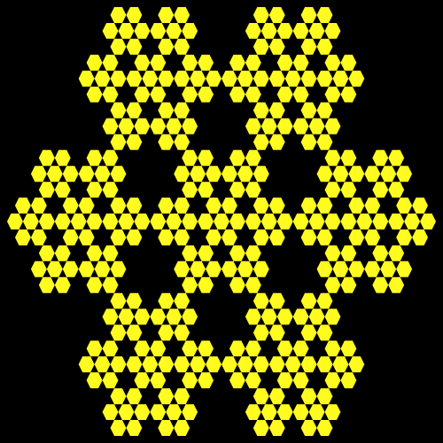 In this example we choose the fully-filled hexagon option. What this does is it fills all the hexagons with another extra hexagon and you get hexagons in hexagons. This example sets curve contour thickness to zero and as a result only two colors are used – yellow for hexagons and black for the background.