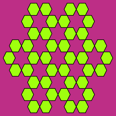 This example draws three iterations of a Sierpinski hexagon but with an additional hexagon in the center. What you get is seven hexagons. This is accomplished by setting the semi-filled hexaflake option.