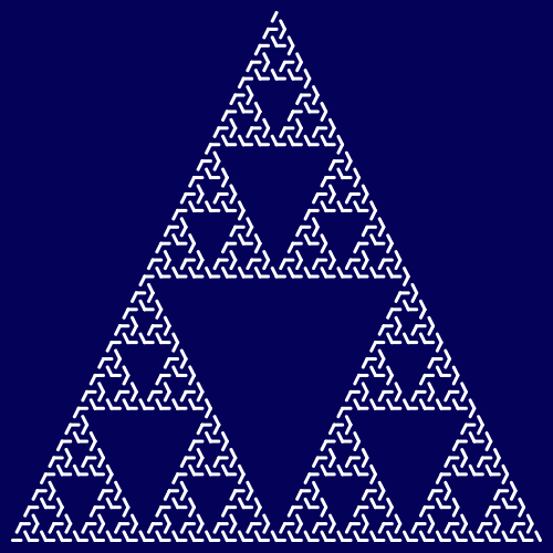 This example draws the triangular Sierpinski maze using 7 iterations. Here you can clearly see how the maze starts converging to the regular Sierpinski triangle. We used keyword white to set white color for the line and set a dark blue color for background using a hex code.