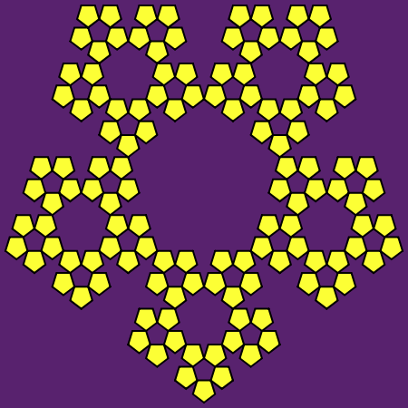 This example generates a regular Sierpinski pentaflake. Regular here means that it's created by placing five new pentagons in each vertex of the previous pentagon. We also turned the pentaflake upside down and set 3 pixels line thickness, 5 pixels padding and 4 iterations.