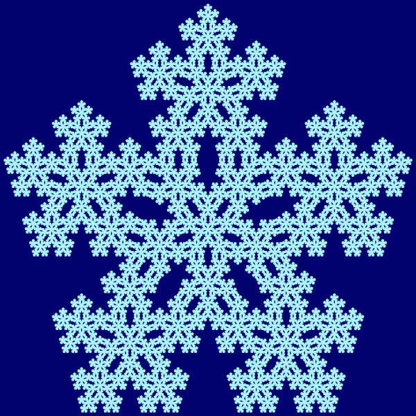 This example generates the third form of the Sierpinski pentagon, which places extra pentagons in the center of all new pentagons, not just the middle one. Pentagon border line thickness is set to zero and it uses two contrasting shades of blue to make the fractal look like a snowflake.