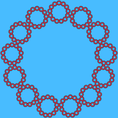 In this example, the fractal shape is similar to a circle because we use a 13-sided polygon as the basis. It uses 4 iterations and sets three colors – blue for the background, black for the contour, and red for the n-gon fill.