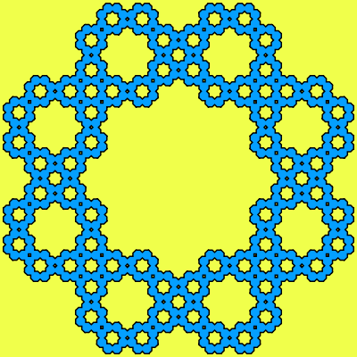 The basis of this example is an octagon (8-sided polygon). With each recursive iteration, each of original octagons is replaced with 8 new octagons. It uses 4 iterations (total of 8*8*8=512 octagons) and if you look very closely you can see that Koch snowflake forms in the center of every octagon.