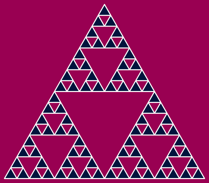 This example draws a Sierpinsky gasket using five iterations. As a result you get a very detailed fractal drawing of triangles-in-triangles.